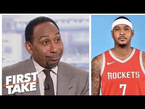 Stephen A. doesn't believe Carmelo is OK with bench role after LaLa's comments | First Take | ESPN