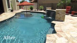 Before and After Swimming Pool and Grill