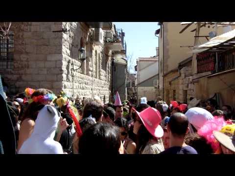 20150306 13:55 Purim at Gezer street Nachlaot Jerusalem