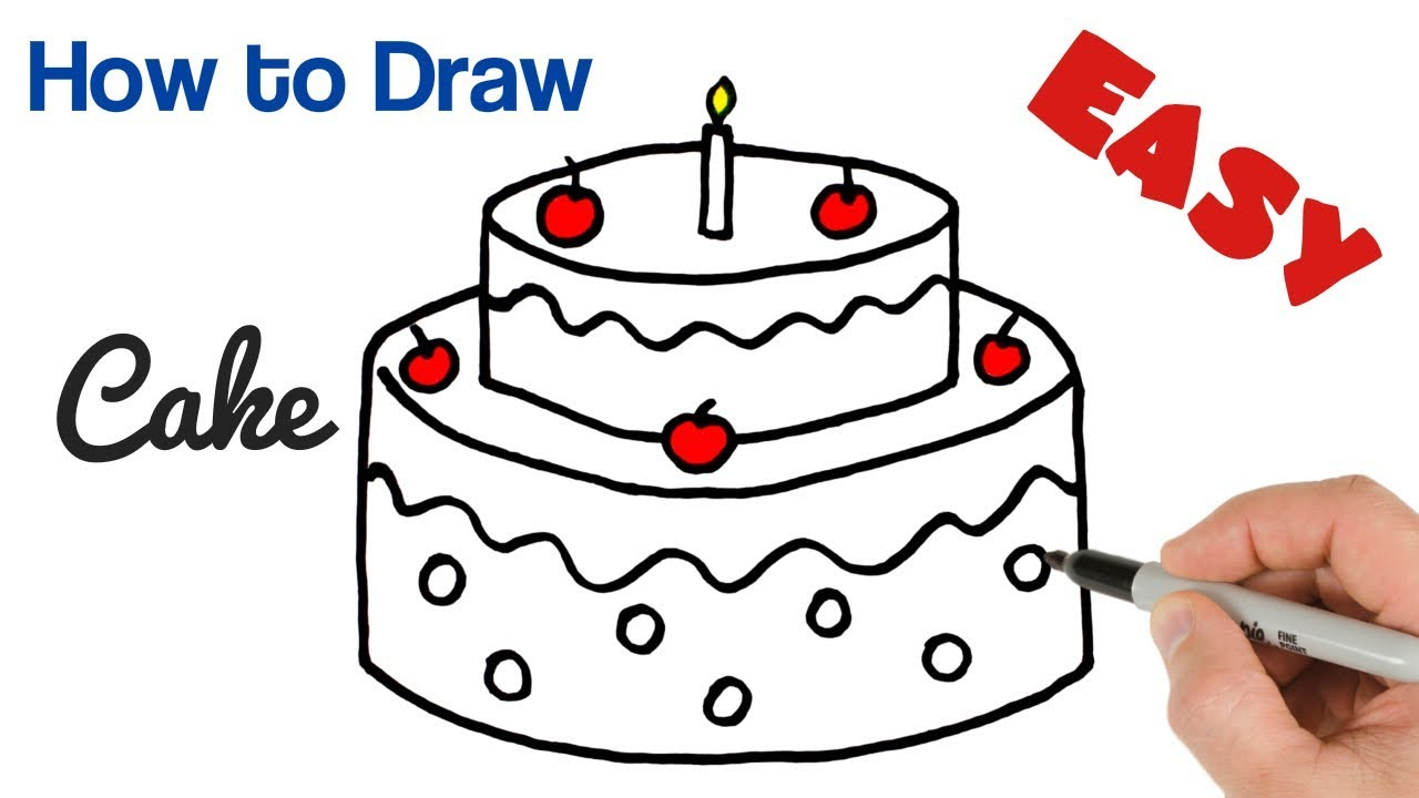 How To Draw A Birthday Cake Easy For Kids Youtube