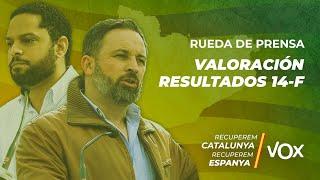 Rueda de prensa de Ignacio Garriga y Santiago Abascal para analizar las elecciones catalanas de 2021