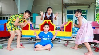 Sky Go To School Sky And Family Have Fun At The Ball Home Children's Fairgrounds Toys City
