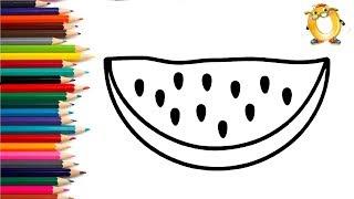 Раскраска для детей АРБУЗ. Мультик - Раскраска. Учим цвета.