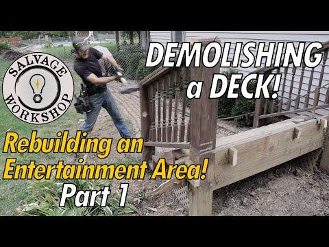 DEMOLISHING The Sinking Deck  ~ Rebuilding A Deck ~ Step 1