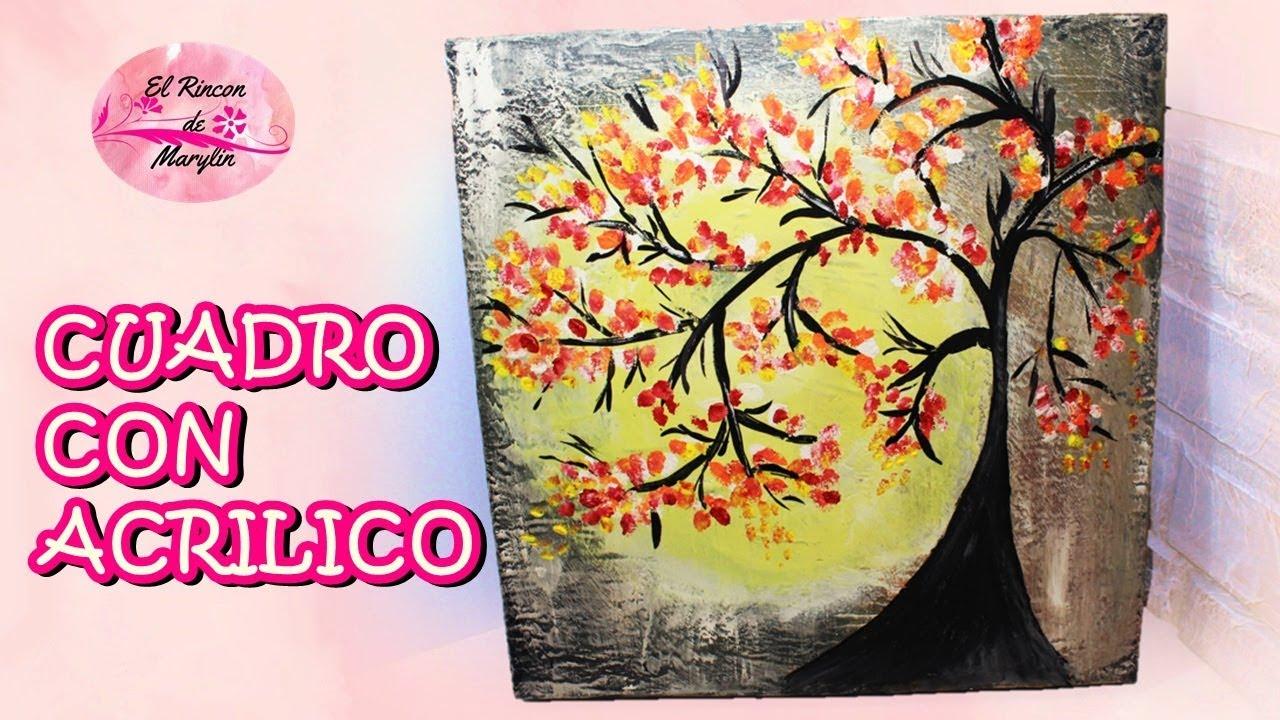 Como pintar cuadros decorativos facil de hacer con acrilico y caja de pizza youtube - Como pintar cuadros faciles ...