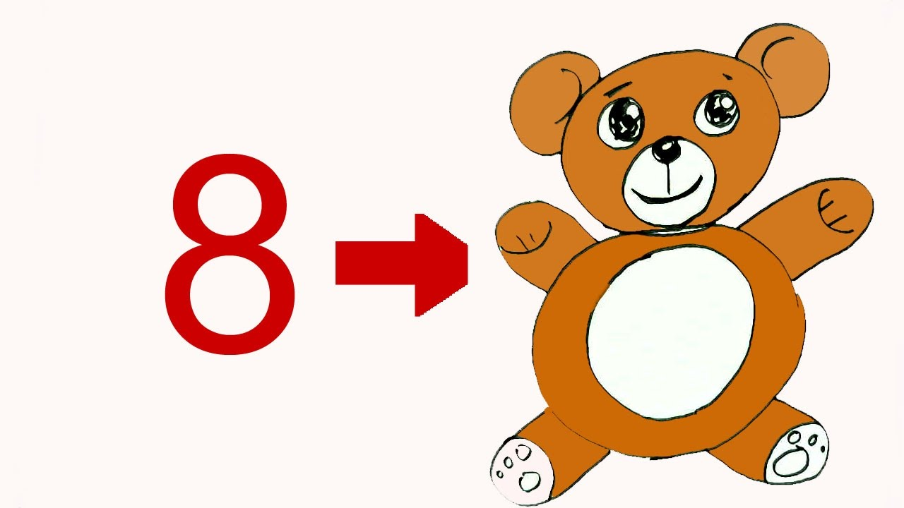 how to draw teddy bear from number 8 in easy steps for children