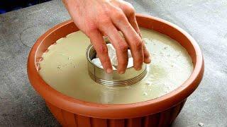Вставляем консервную банку в миску с бетоном. Соседи по даче будут в шоке