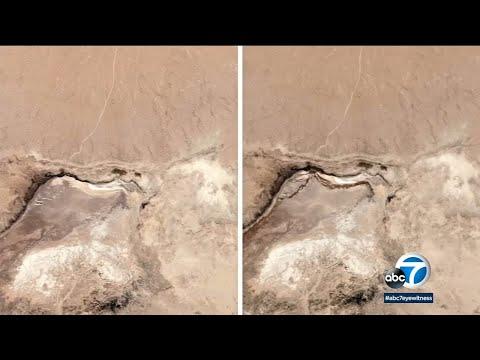 Ridgecrest Earthquake before-and-after: Satellite images show massive cracks open in desert | ABC7