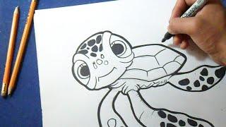 """Cómo dibujar Tortuga de """"Buscando a Nemo""""   How to Draw tortoise - Finding Nemo"""