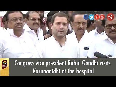 Congress vice president Rahul Gandhi visits Karunanidhi at the hospital