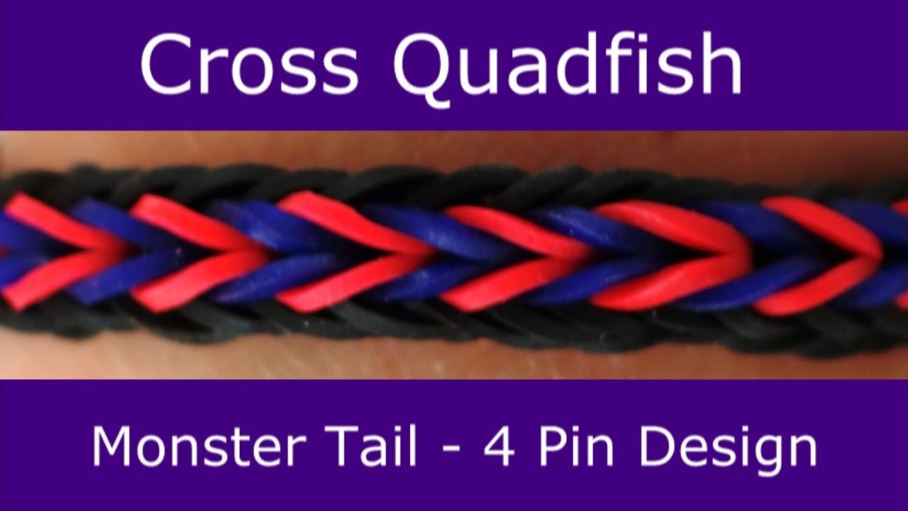 Monster Tail 174 Cross Quadfish Bracelet By Rainbow Loom