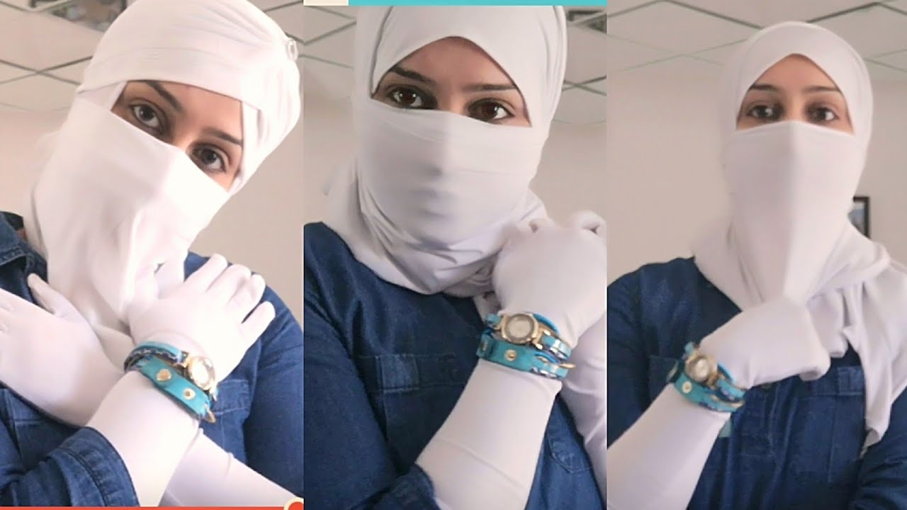 Full Face Cover With White Stretchable Scarf For Sun