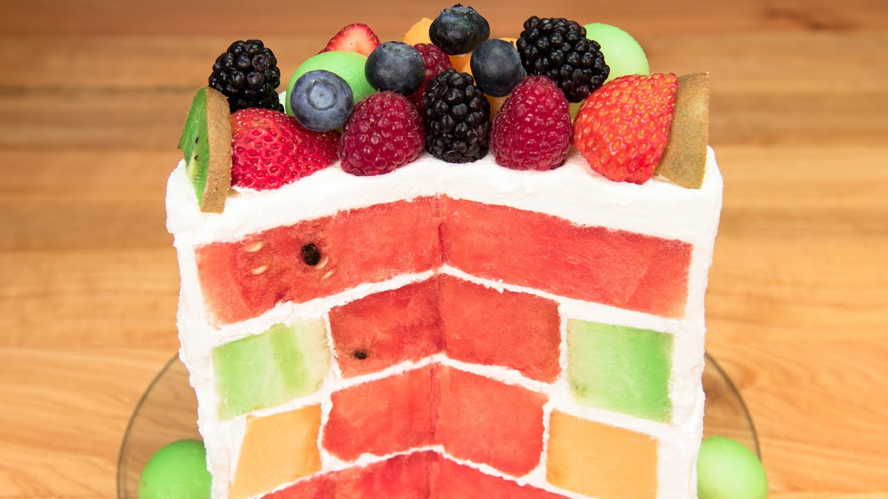 Triple Melon Cake Watermelon Honeydew Cantaloupe No Bake You
