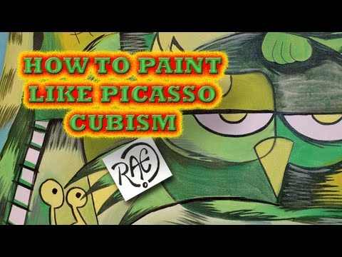 """HOW TO PAINT Cubist ABSTRACT style like PICASSO """"The Charm Farm"""" Angry Birds"""