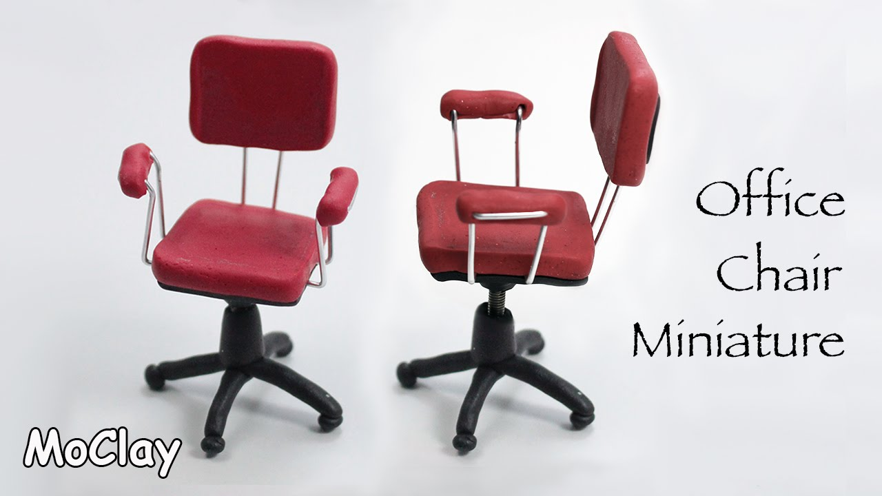 Miniature furniture  Office Chair - Polymer clay tutorial