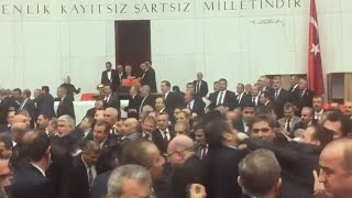 Violent brawl erups in Turkish parliament