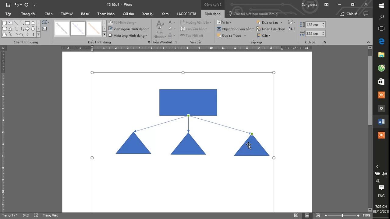 Hướng dẫn vẽ sơ đồ trong Word (tự động nối các ô với nhau)