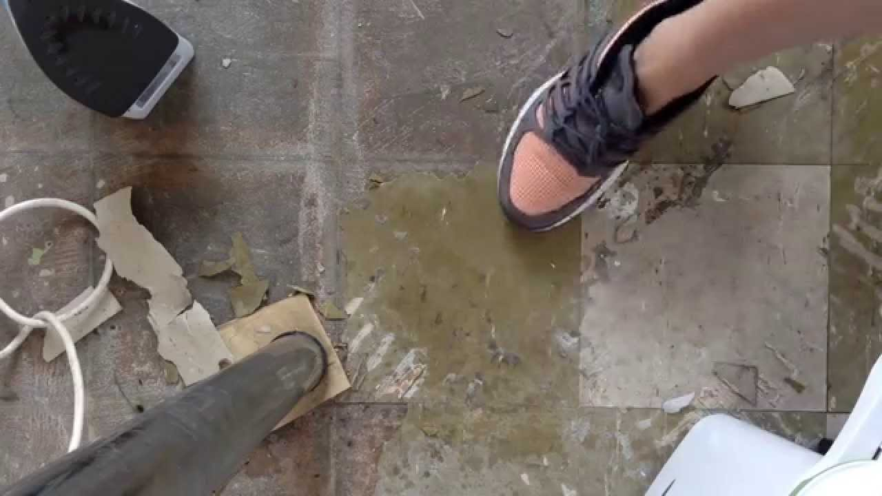 How to remove sticky back vinyl floor tiles easy youtube how to remove sticky back vinyl floor tiles easy dailygadgetfo Images