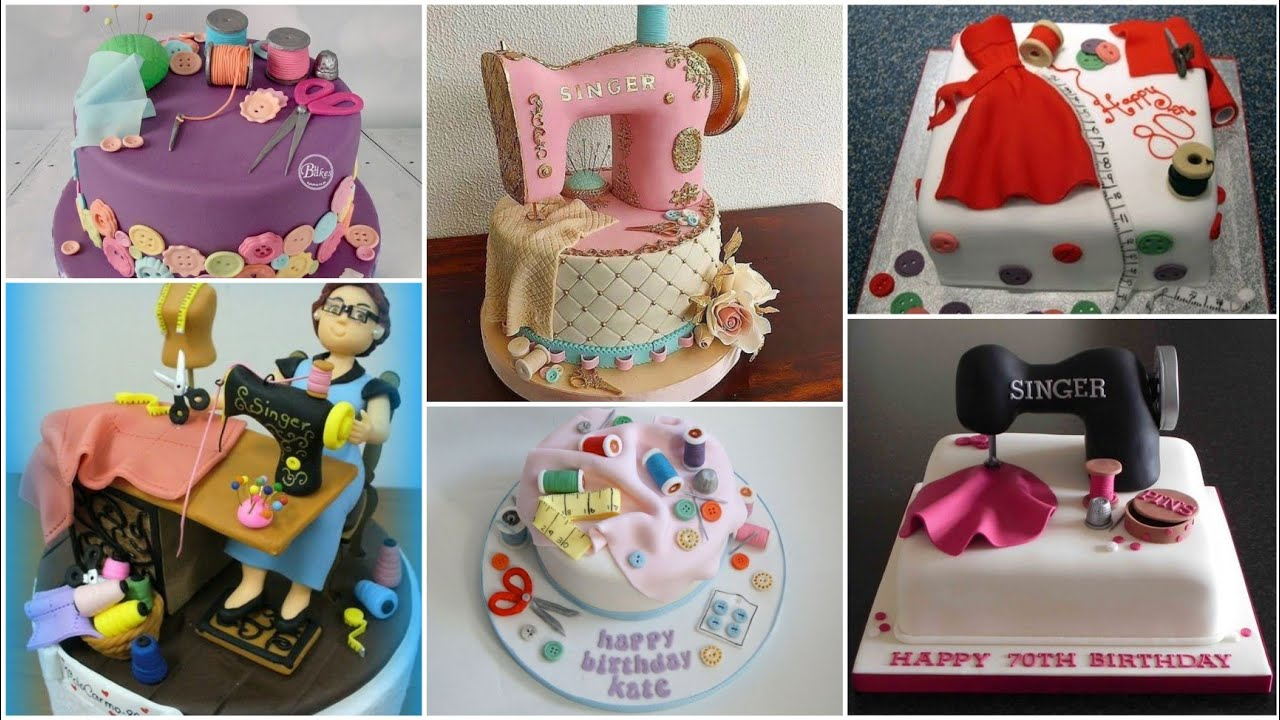 Download Sewing machine cake design || Sewing theme cake ideas - Crazy about Fashion.