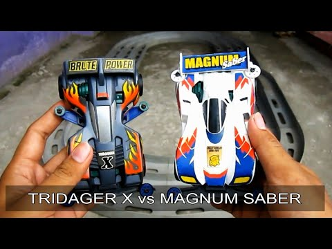 ミニ四駆 Balapan TAMIYA Mini 4WD TRIDAGER X vs MAGNUM SABER # TAMIYA Test and Review