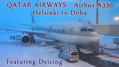 Qatar Airways   Helsinki to Doha Flight   Aircraft Deicing