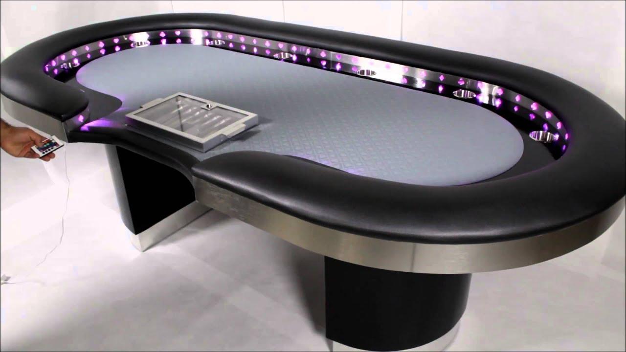 Poker Table with LED Lights The Vega by Straight Poker Supplies