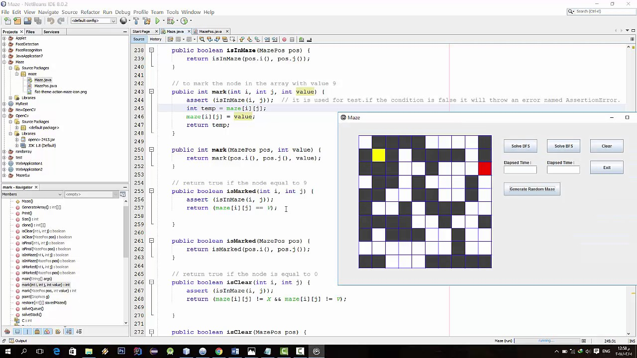 Maze Solving DFS And BFS Java (Ahmed) (Arabic)