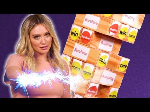 Hilary Duff & Sutton Foster Play Giant Jenga