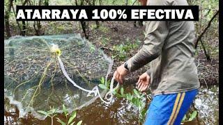 PESCANDO CAMARONES en laguna con ATARRAYA 100% Efectiva