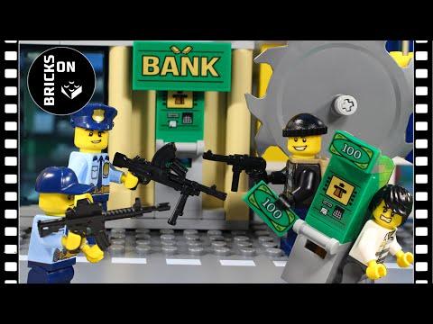 Lego ATM Car Robbery Compilation Heist Fail Lego City Police Chainsaw Bulldozer Brickfilm