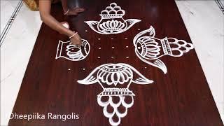 sankranthi special rangoli design with 9 dots * sankranthi muggulu 2019 * pongal rangoli