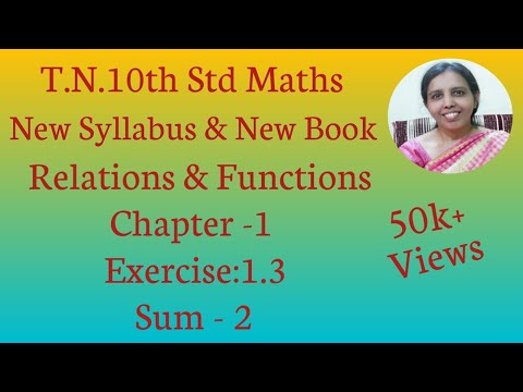 10th Std Maths New Syllabus (T.N) 2019 - 2020 Relations & Functions Ex:1.3-2
