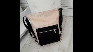 0818 Женская сумка мешок вместительная с накладным карманом рюкзак экокожа