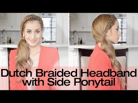 Braided Headband with Side Ponytail Hairstyle | Fancy Hair Tutorial ...