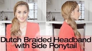 braided headband with side ponytail hairstyle   fancy hair tutorial