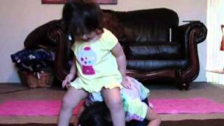 Nevaeh pees her pants having too much fun with here baby sister