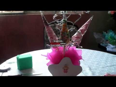 Como hacer un centro de mesa para bautizo con bombones - Como hacer centros de mesa con dulces para bautizo ...