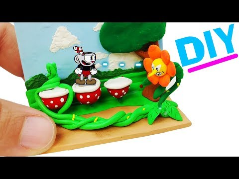 HOW TO MAKE MINIATURE CUPHEAD DIY CRAFT clay mugman boss gameplay