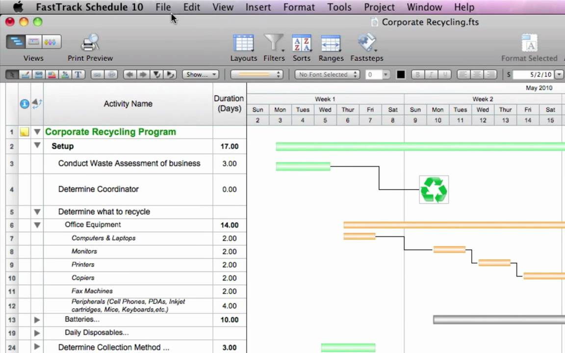 mac project management software fasttrack schedule 10 for mac quick