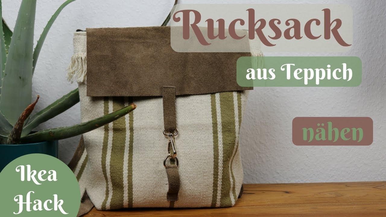 Ikea Hack / Rucksack aus Teppich nähen / Boho - Schritt für Schritt  Nähanleitung ohne Schnittmuster