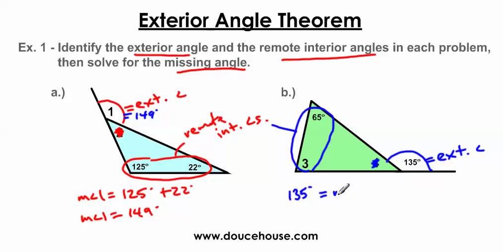 Exterior angle theorem youtube for Exterior of an angle definition