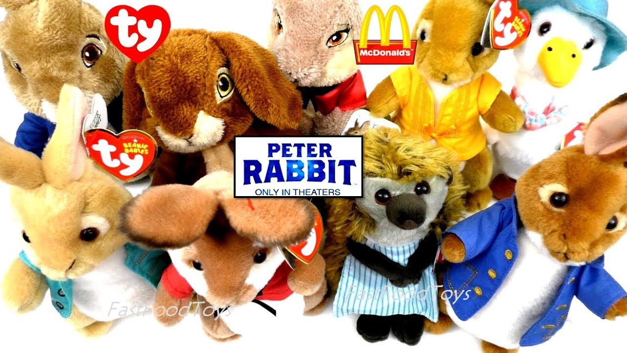 2018 McDONALD S PETER RABBIT MOVIE PLUSH TY BEANIE BABIES VS JUST PLAY VS  HAPPY MEAL TOYS FULL SET 9 8e82a4dcb65
