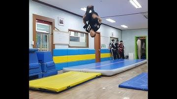 특공무술 기계체조!!새로 산 에어매트에서...(korea martial arts!!)