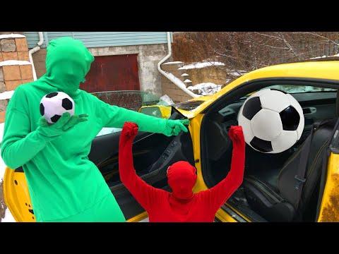 SOCCER Player Green Man CONJURED Soccer BALL Instead of Steering WHEEL VS Red Man on Camaro 13+