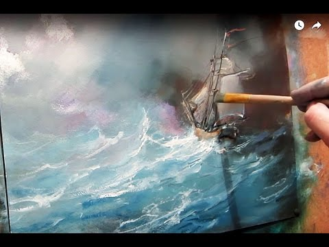 Oil painting. Seascape. Storm on the sea.