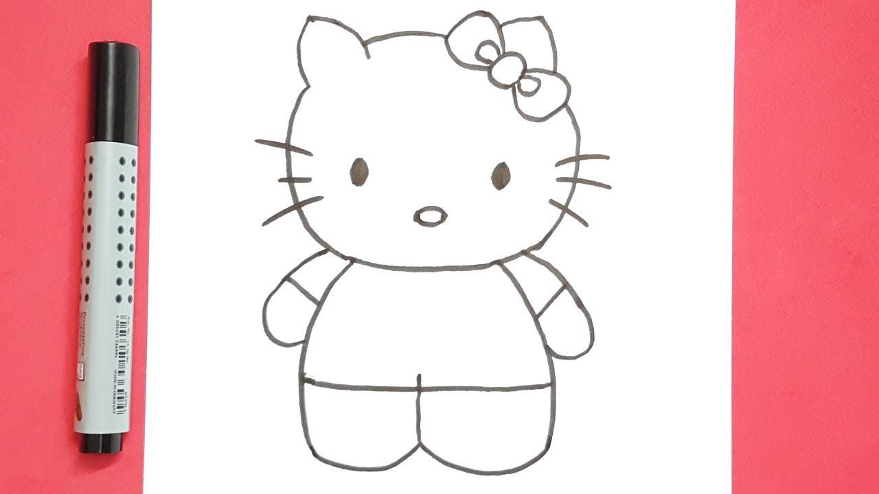 كيفية رسم هلو كيتى خطوة بخطوة للاطفال How To Draw Hello Kitty