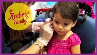 CUTE 2 YEAR OLD GETS HER EARS PIERCED
