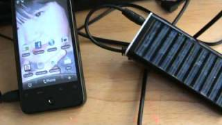 My Solar cell phone charger using it on my Android phone
