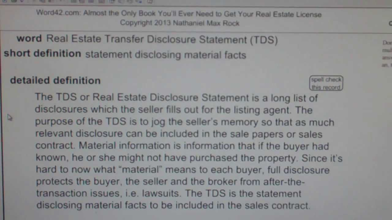 Real Estate Transfer Disclosure Statement (TDS) CA Real