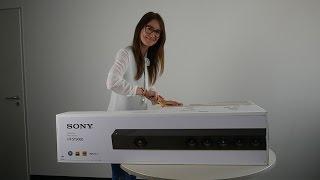 Анбоксинг: Соні Долбі Атмос саундбар НТ-ST5000 дисплей